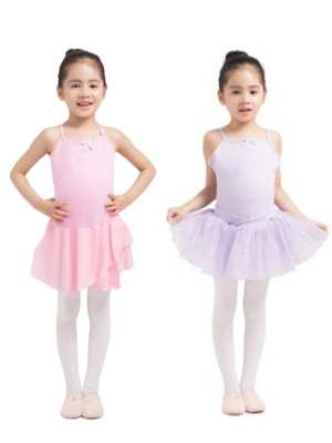 inlzdz Kids Girls Pinched Front Camisole Ballet Dance Skirted Leotard Ballerina Pageant Fancy Dress Costumes