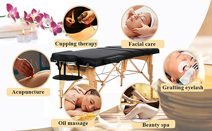 """Massage Table Massage Bed Spa Bed 73"""" Height Adjustable Bed Massage Portable Salon Table Portable PU Massage Table Bed W/Carry Case"""