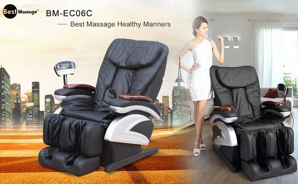 Full Body Electric Shiatsu Massage Chair Recliner with Built-in Heat Therapy Air Massage System Stretch Vibrating for Home Office Living Room, Black