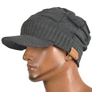 ce7d4293ab2 HISSHE Retro Newsboy Knitted Hat with Visor Bill Winter Warm Hat for Men