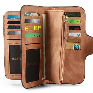 Brown-Leather Zipper Long Wallet Card Holder