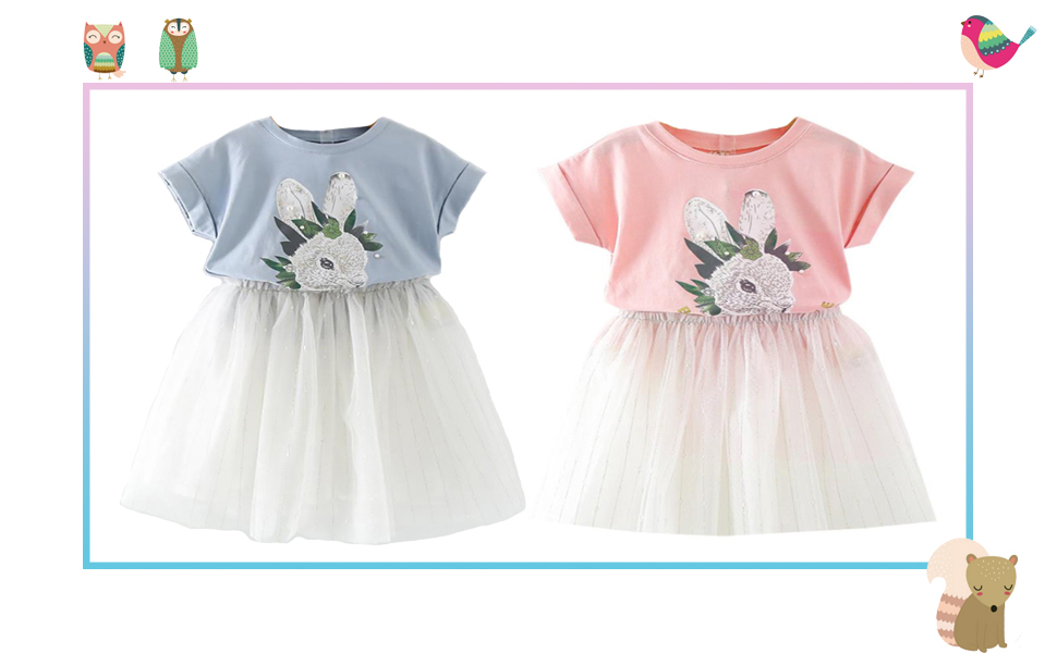 Motteecity Girls Clothes Set Adorable Bunny Short Sleeves T-Shirt and Dresses Grey 1-5T