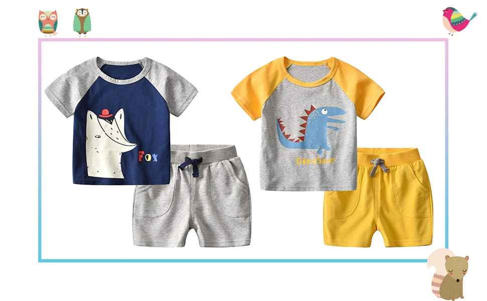 Motecity Boys Shorts Set Striped Cartoon