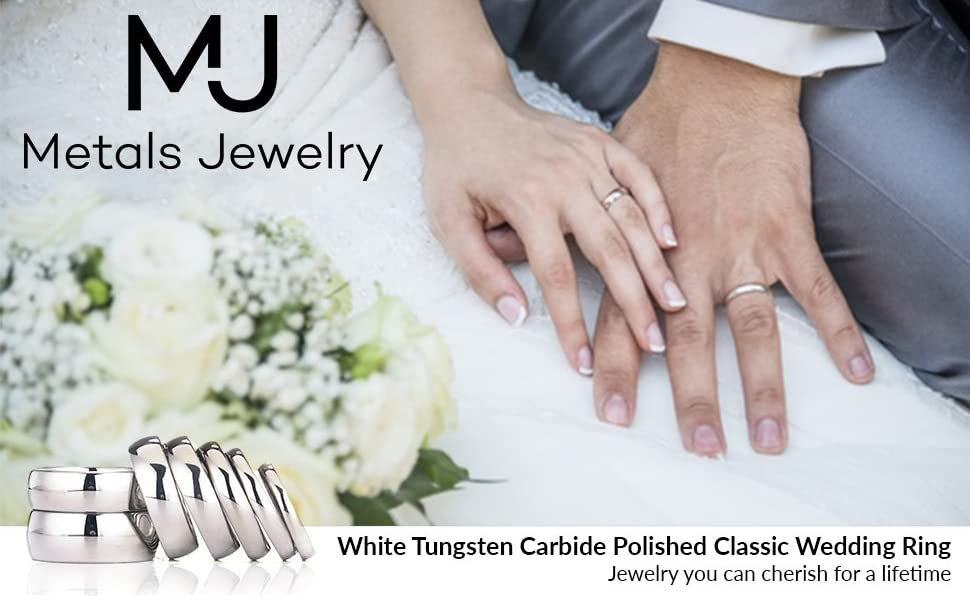 Wedding picture with White Tungsten Bands
