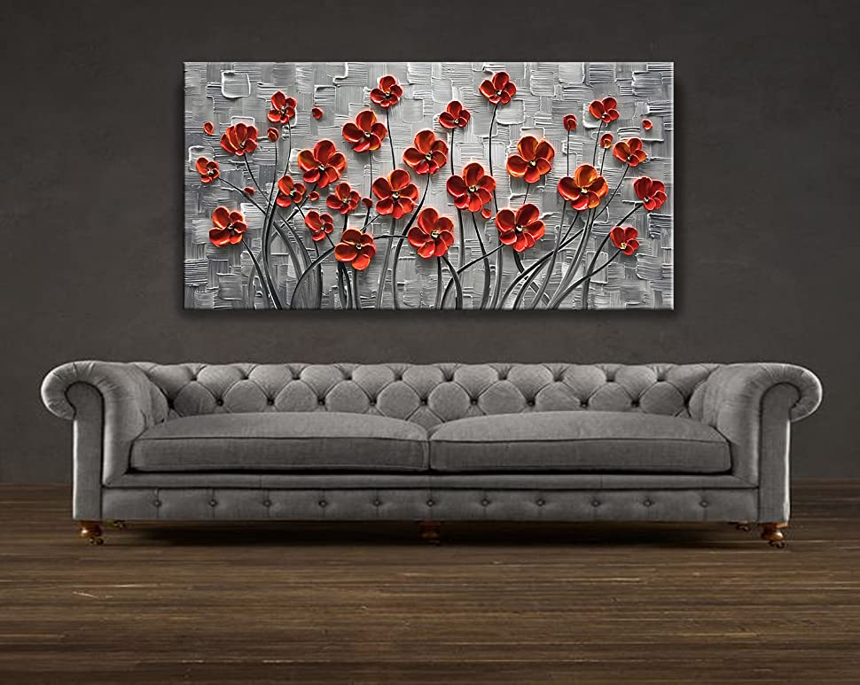 Modern Abstract Painting Red Tree 3D Oil Painting Hand Painted On Canvas Abstract Artwork picture Wall Art for living room office Decoration 20x40inch YaSheng Art
