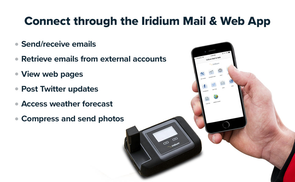 Mail and Web App on Iridium GO Wi-Fi hotspot terminal