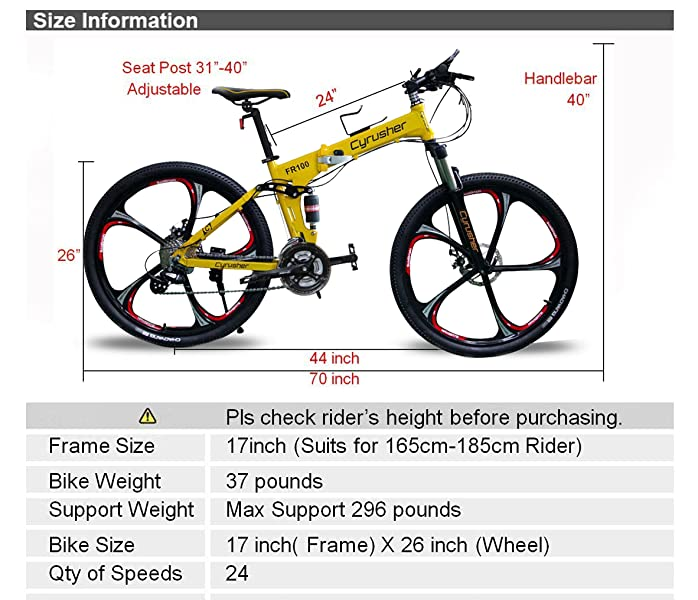Amazon.com : VTSP FR100 Fording Bikes Shimano M310 ALTUS Full ...