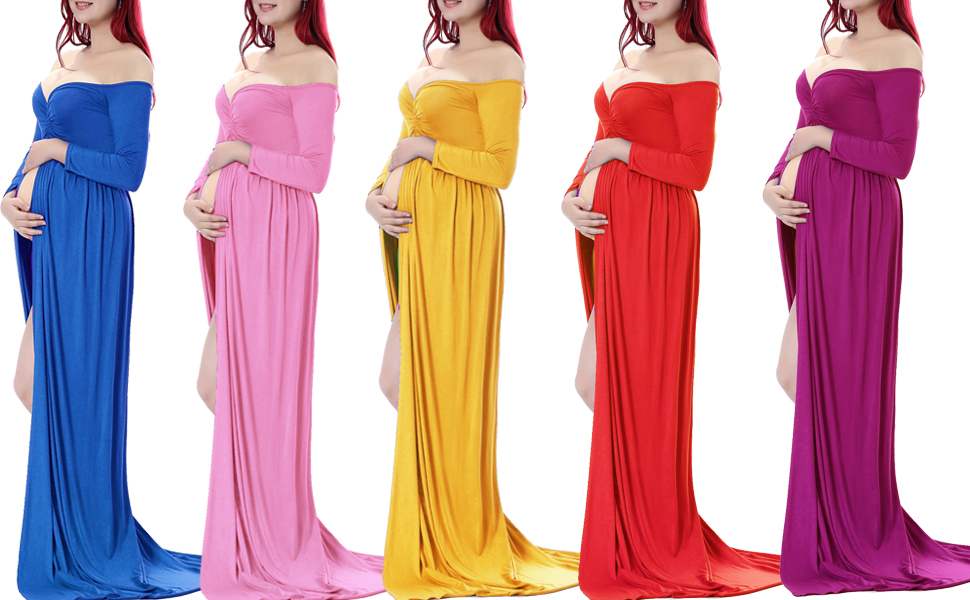 Maternity Dress For Photo Shoot Maternity Gown Long Maternity Gown Straight  Neckline Sweetheart Neckline Baby Shower Dress