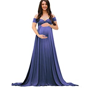 92d645f679f9d Saslax Maternity Half Circle Off Shoulder Short Sleeves Gown Maxi ...