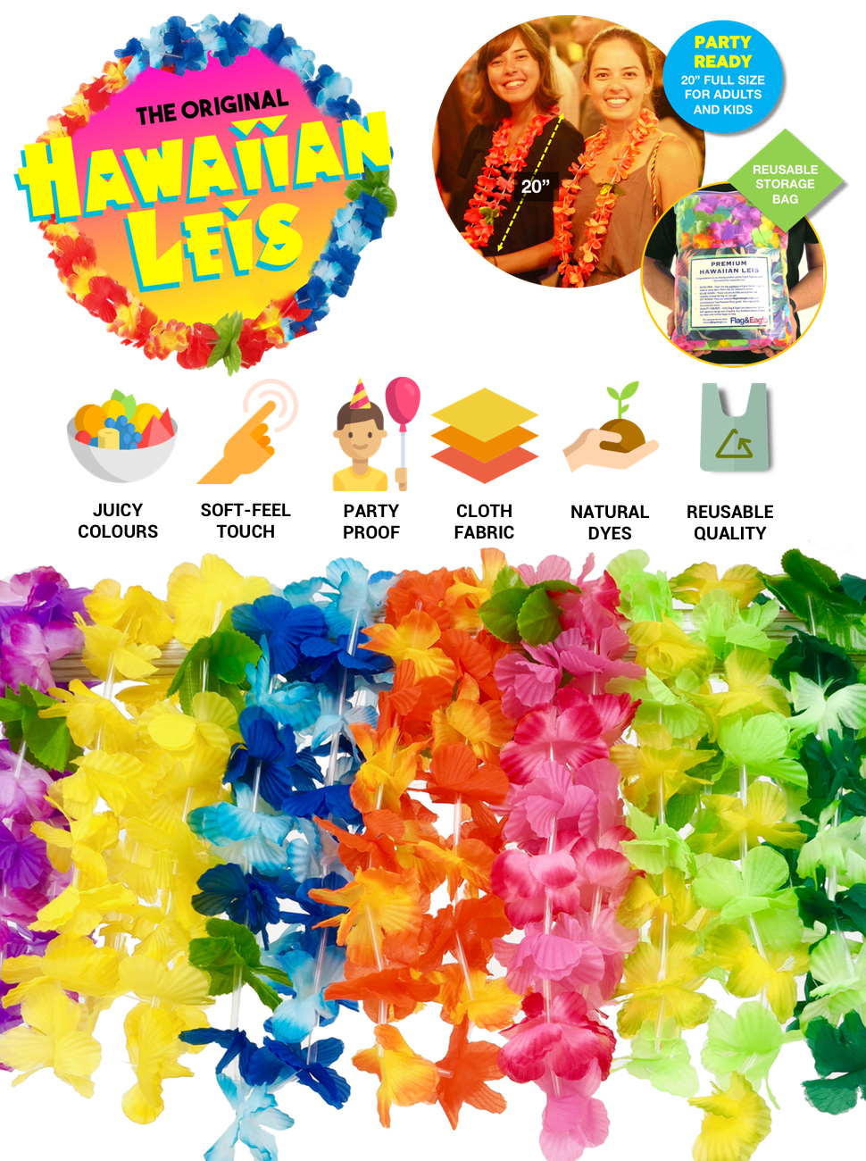 Amazon Flag Eagle Hawaiian Leis Luau Party Supplies Premium