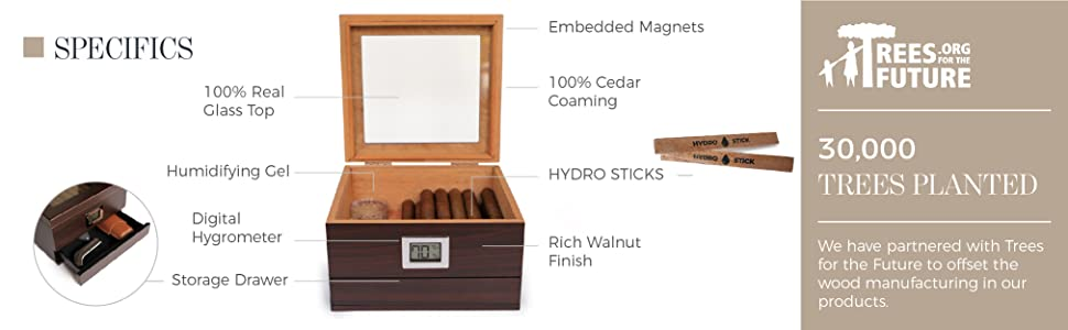 glass top humidor spanish cedar coaming 25-50 cigar storage digital hygrometer drawer accessory