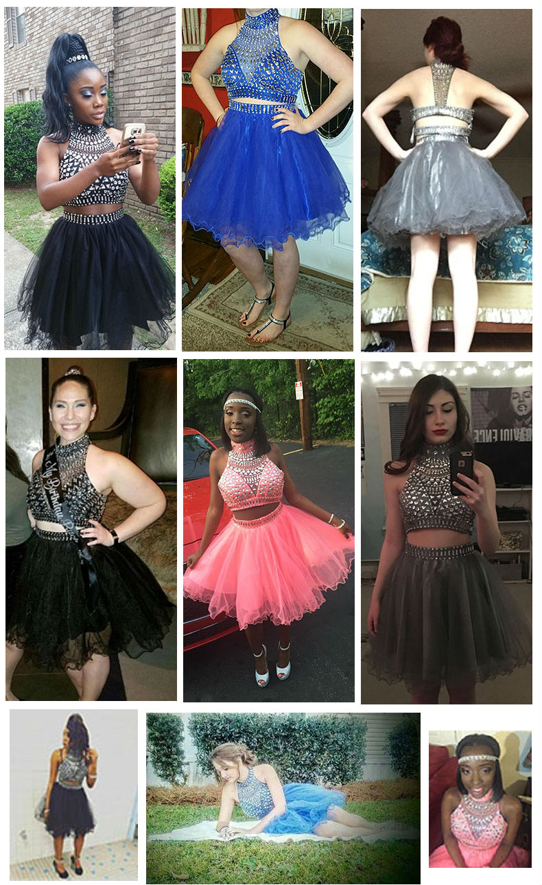 0a74870997c Two Piece Homecoming Dresses Short Halter Beaded Tulle Cocktail Prom ...