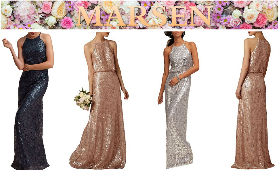 2017 MARSEN Womens Sequins Halter Cross strap Long Bridesmaid Prom Dress