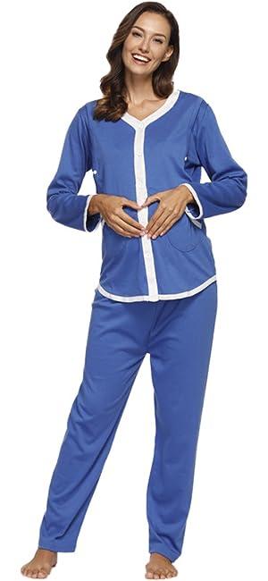 410f03ab4d8f2 Women's Maternity Nursing Cotton Breastfeeding Nightgown Pajamas Set