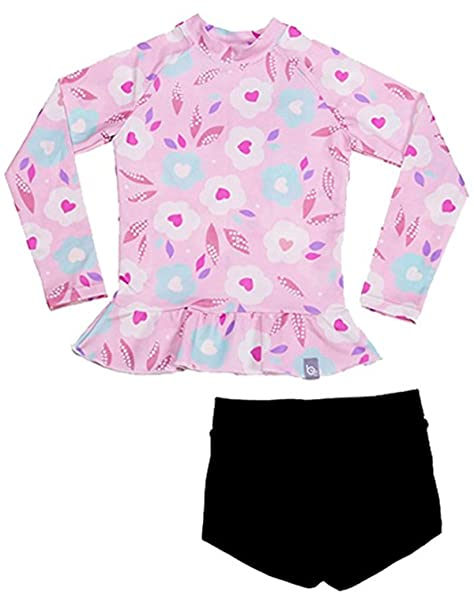 Aulase Little Girl Cute Flower Print 2 Piece Swimsuit Short Sleeve Rashguard Set