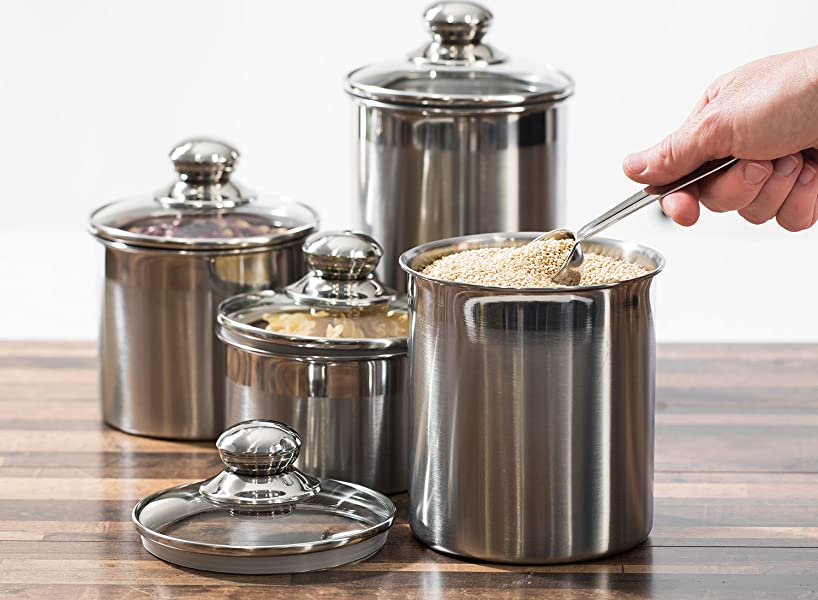 stainless steel canister sets kitchen amazon com canister set stainless steel beautiful canisters for kitchen counter 4 piece 8527