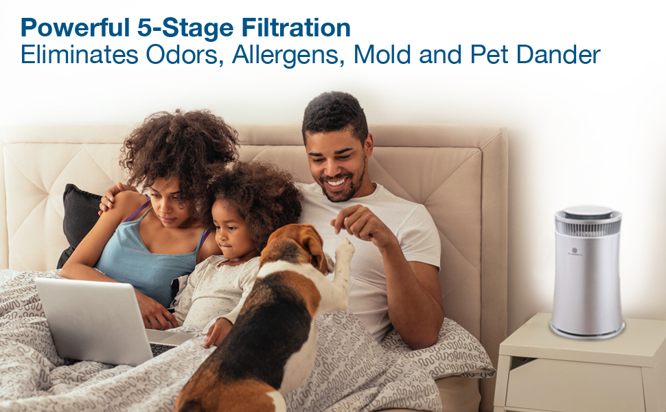 Air Purifier with powerful 5-stage filtration eliminates odors, allergens, mold and pet dander
