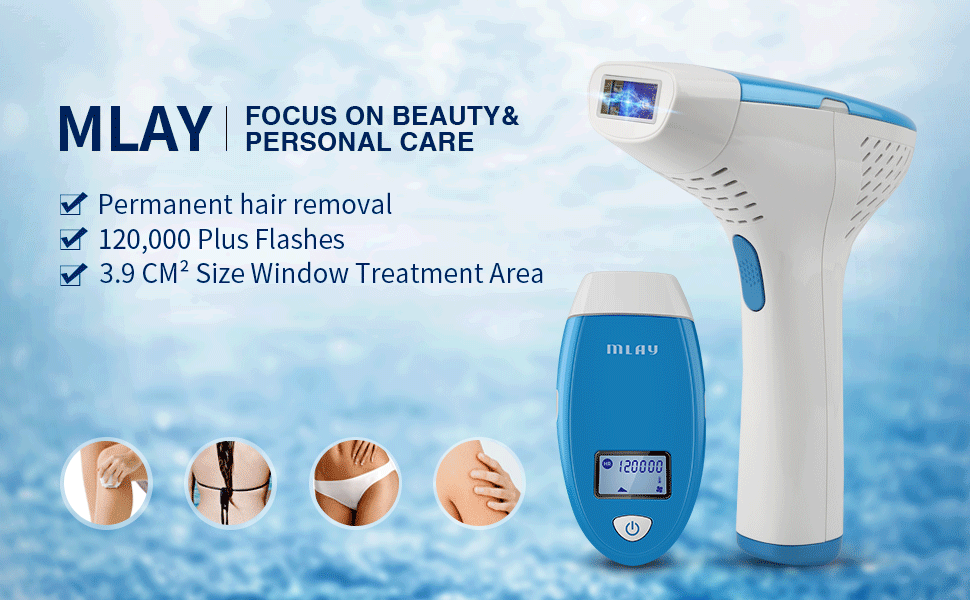 f7ab52e0f6c MLAY IPL Permanent Hair Removal Device – Reliable Body Hair Removal System  – Uses Intense Pulsed Light Technology for Permanent