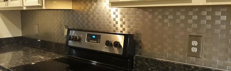 Amazon Com Art3d 5 Piece Metal Backsplash Tile Peel And