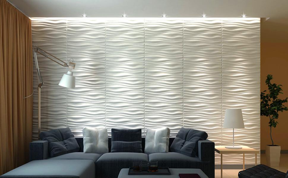Amazon Com Art3d Decorative 3d Wall Panels Wave Board Design For Tv Walls Bedroom Living Room Sofa Background Pack Of 6 Tiles 32 Sq Ft Plant Fiber Home Kitchen