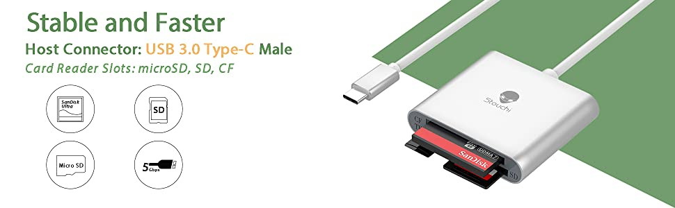 SanFlash PRO USB 3.0 Card Reader Works for Philips CTX818CP Adapter to Directly Read at 5Gbps Your MicroSDHC MicroSDXC Cards
