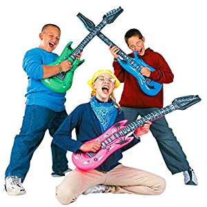 Inflatable Rock Star Toy Set - 18 Pack Inflatable Party Props - 4 Inflatable Guitar, 6 Microphones, 6 Shutter Shading Glasses, 1 Saxophone and 1 ...