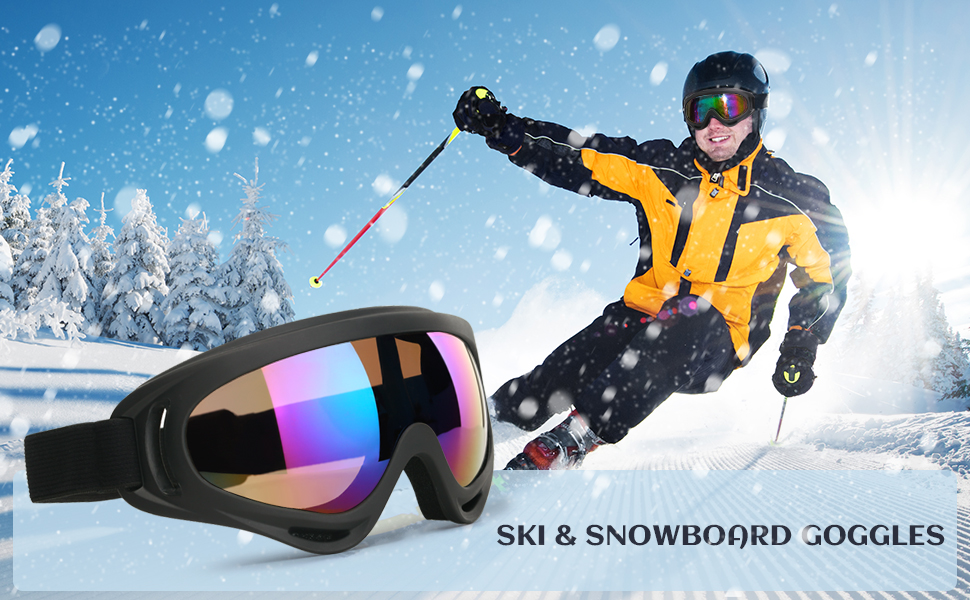 bb7632e196ee COOLOO Ski Goggles featured with safe and elastic ABS frames and durable  and the impact resistance PC lenses to protect you from bright sunshine