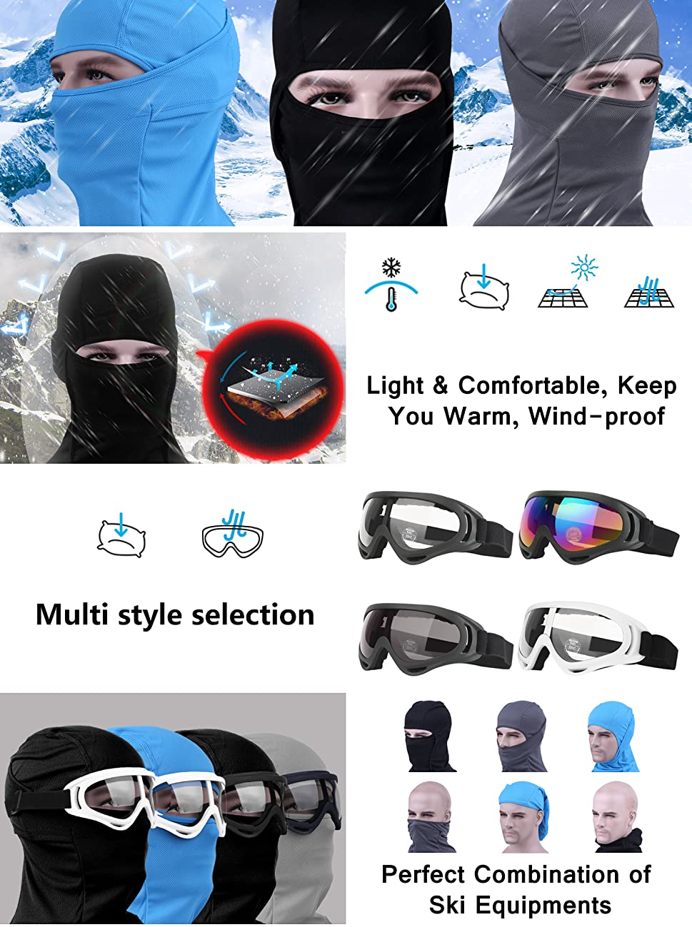 Amazon.com : Balaclava & Ski Goggles Sets, Ultralight