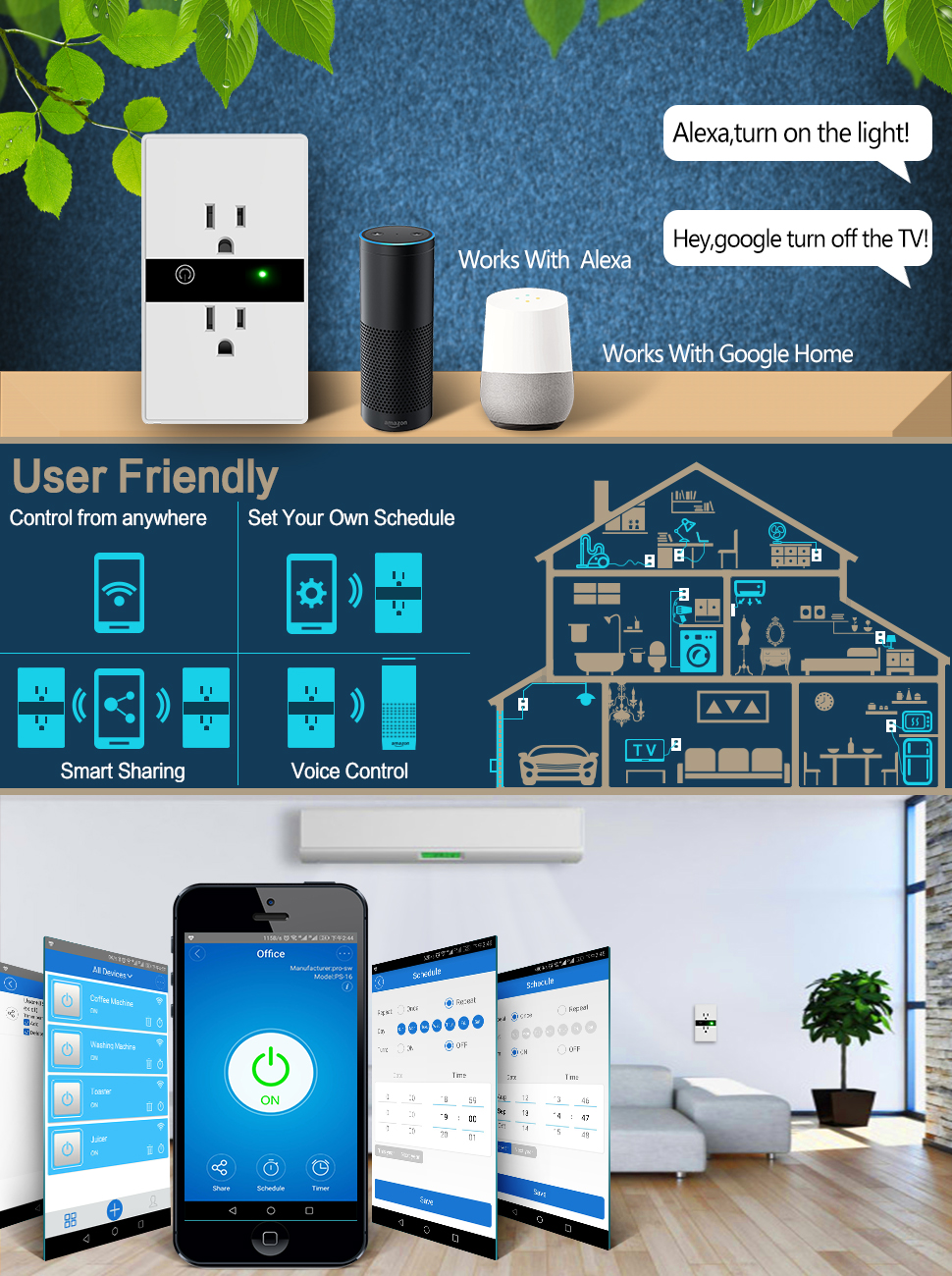 perfect office google home. the smart outlet works perfect with alexa and google home you can manage your devices voice assign a name to each office