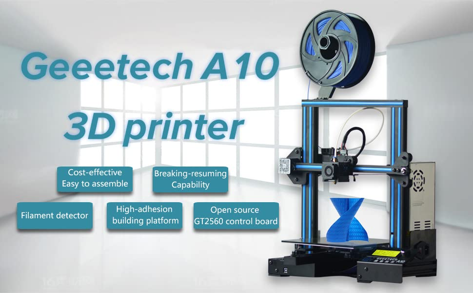 GEEETECH A10 3D Printer, Fast-Assembled Aluminum Profile DIY kit, with Open  Source firmware, Breaking-resuming, High Adhesion Building Platform,