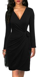 Women's Dresses Deep V-neck Long Sleeve Draped Belted Sheath Knee-length Faux Black Wrap Dress