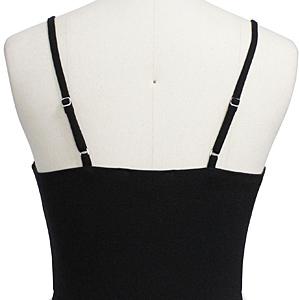 Women's Spaghetti Strap Sleeveless Falttering A-Line Casual Button Down Midi Dress
