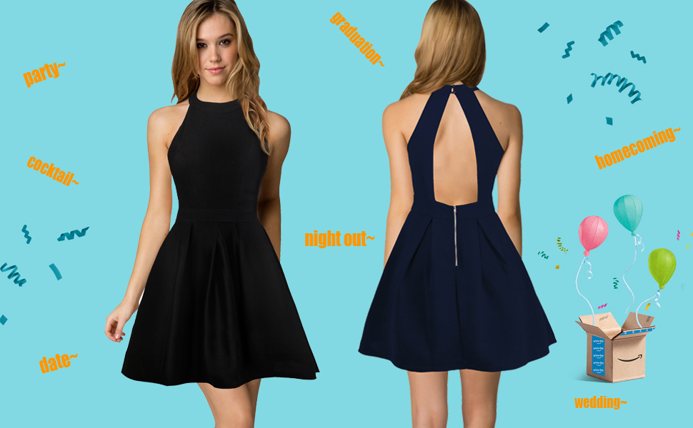 9f9aa55a7f3 Berydress Women s Halter Neck Sleeveless Backless A-Line Semi Formal Black  Party Cocktail Dresses