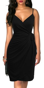Women's Black Dresses Vintage Faux Wrap Knee-length Sheath Spaghetti Strap Cocktail Party Dress