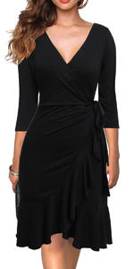 Women's Vintage 3/4 Sleeve V-neck Knee-length Ruffle Black Wrap Dress Business Work Cocktail Dress