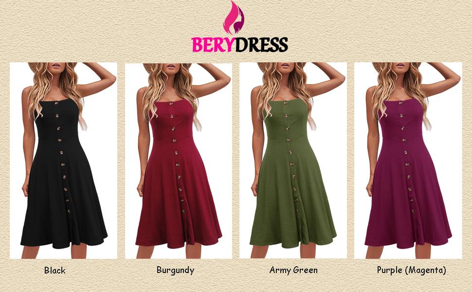 8d113a4eb5ad Berydress Women's Casual Beach Summer Dresses Solid Cotton Flattering  A-Line Spaghetti Strap Button Down Midi Sundress