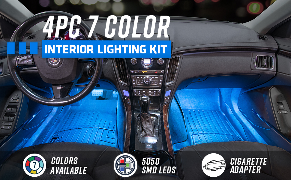 4pc 7 Color Interior Lighting Kit