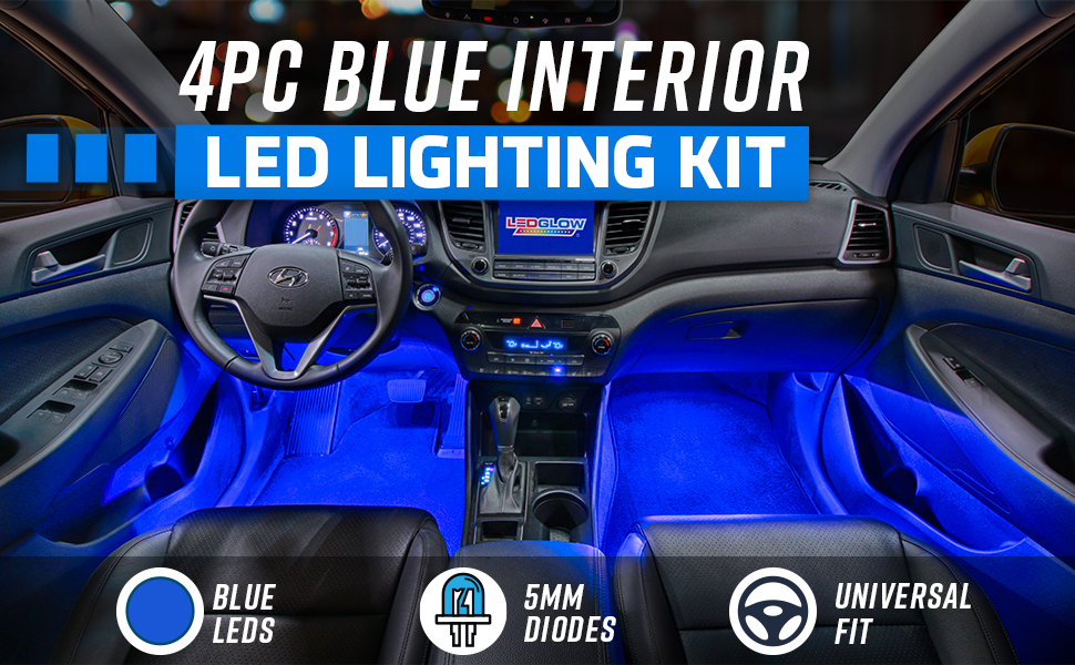 Amazon Com Ledglow 4pc Blue Led Interior Footwell