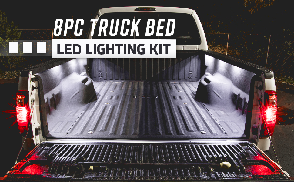 8pcs Universal Pickup Truck Bed Box Waterproof White LED Lighting Light Kit