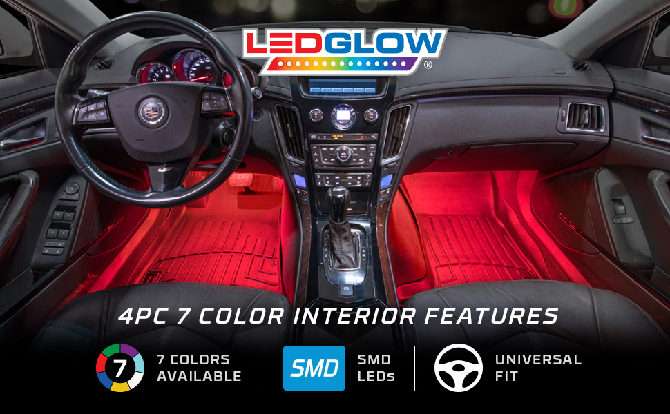 ledglow 4pc multi color led car interior underdash lighting kit universal fitment. Black Bedroom Furniture Sets. Home Design Ideas