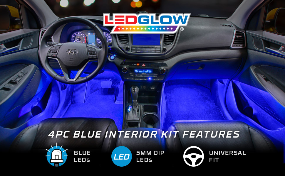 Ledglow 4pc blue led car interior underdash lighting kit universal fitment music for Led lighting for cars interior