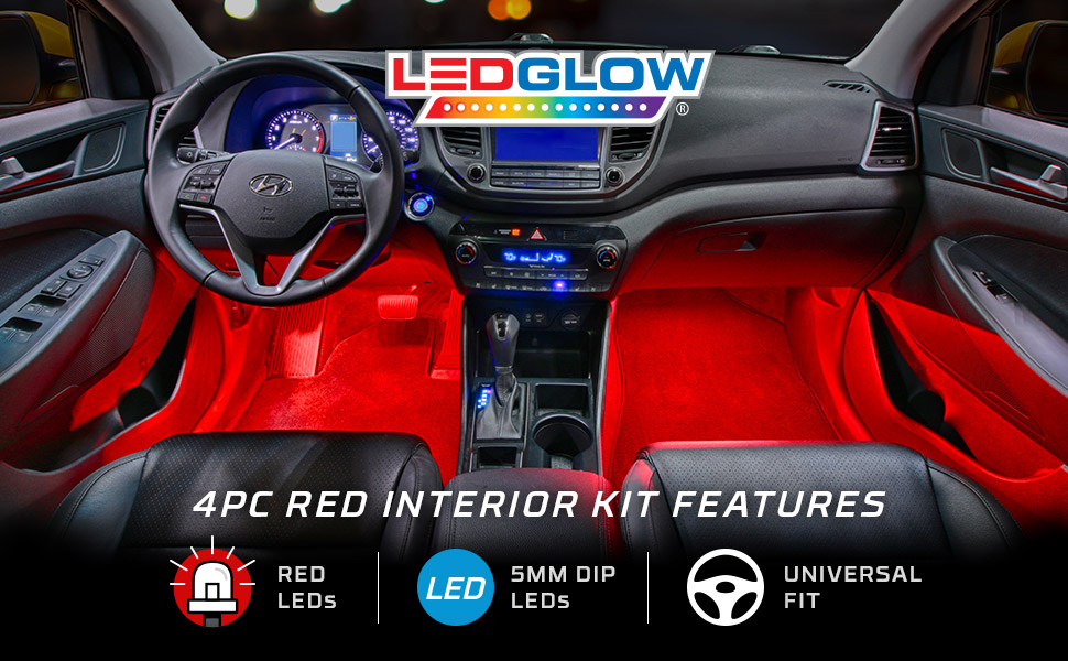 ledglow 4pc red led car interior underdash lighting kit universal fitment music. Black Bedroom Furniture Sets. Home Design Ideas