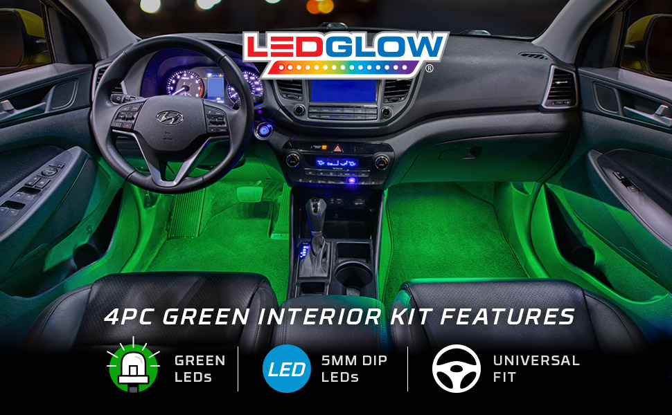 Ledglow 4pc Green Led Car Interior Underdash Lighting Kit Universal Fitment