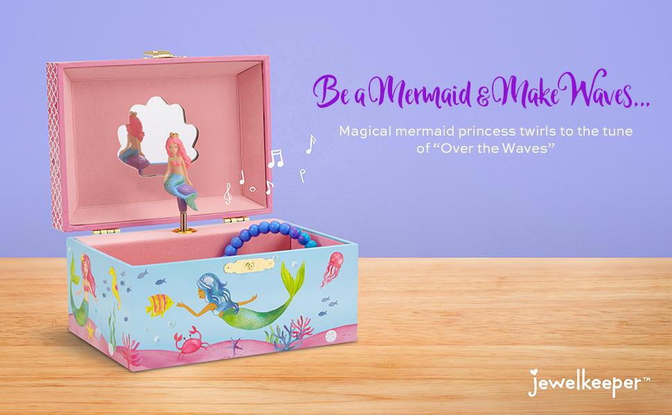 musical jewelry box for girls, mermaid, horse, narwhal, little, princess, unicorn, woodland