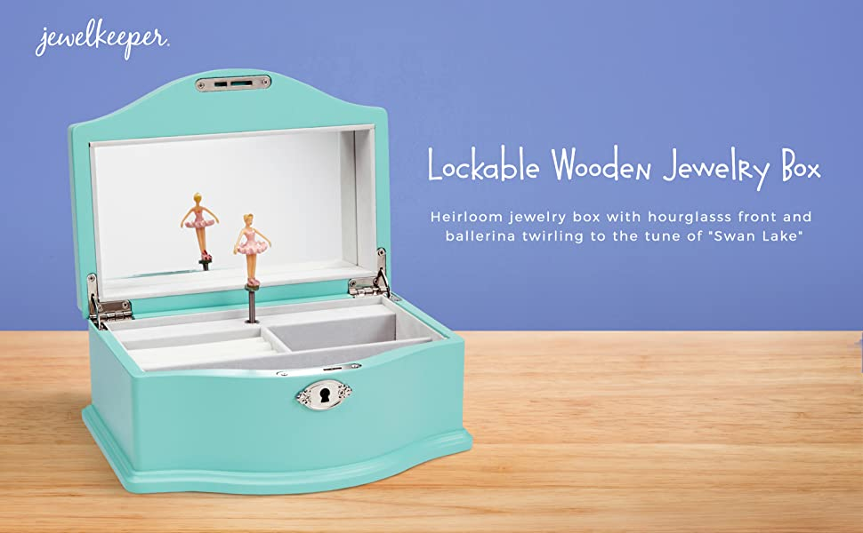 Amazoncom JewelKeeper Girls Wooden Musical Jewelry Box with Lock