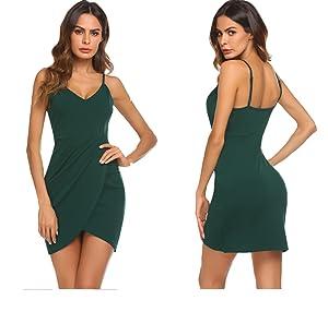 72f9394e81 Sherosa Womens Deep V Neck Spaghetti Straps Summer Dress Sleeveless ...