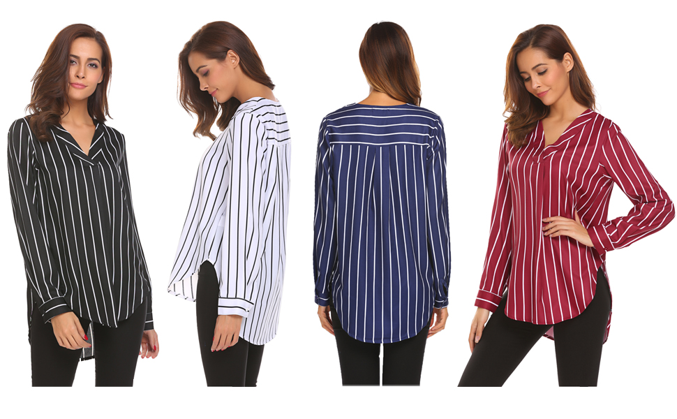 Womens Blouse Hanging Neck Off Shoulder Ladies Casual Striped TShirt Tops Blouse