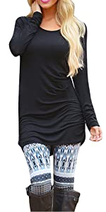 Womens Basic Casual Long Sleeve Slim Fit T Shirt Dress Tunic Top