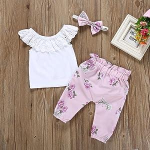 71e53f843 Toddler Baby Girls Lace Ruffle Shirt Top +Floral Pants Set Bowknot Headband  3PCS Easter Clothing