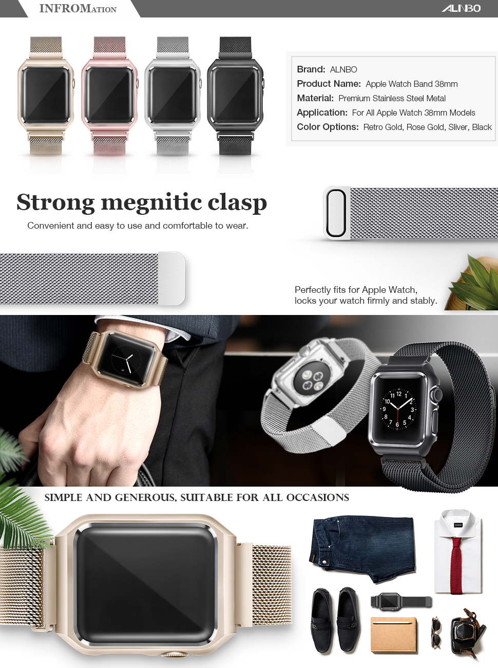 Alnbo Compatible 38mm Apple Watch Band Stainless Steel Series 2 Black For Both 1 And Version Model Personalized Your With This Refined Replacement Premium